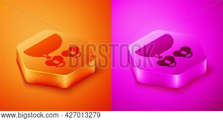 Isometric Necklace With Heart Shaped Pendant Icon Isolated On Orange And Pink Background. Jewellery