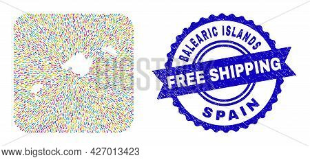 Vector Collage Balearic Islands Map Of Evacuation Arrows And Rubber Free Shipping Seal Stamp. Collag