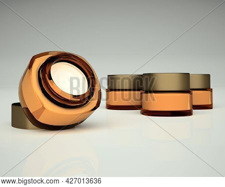 A Set Of Cosmetic Creams. An Open Jar And Three Closed Jars With Cosmetic Cream Are Located On A Bri