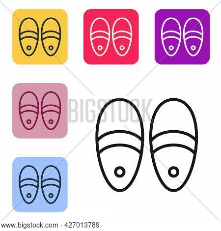 Black Line Slippers Icon Isolated On White Background. Flip Flops Sign. Set Icons In Color Square Bu