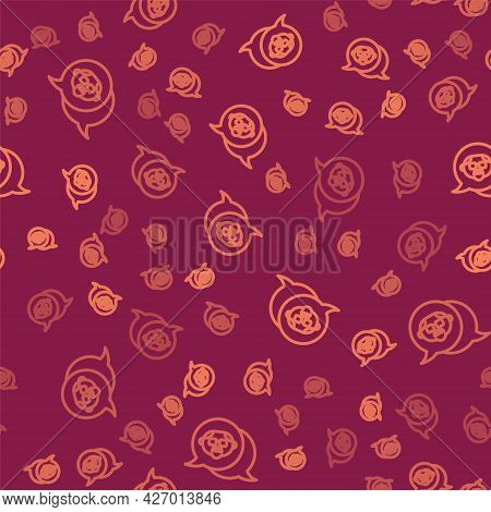 Brown Line Grandfather Icon Isolated Seamless Pattern On Red Background. Vector