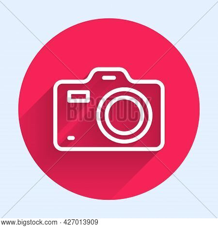 White Line Photo Camera Icon Isolated With Long Shadow. Foto Camera. Digital Photography. Red Circle