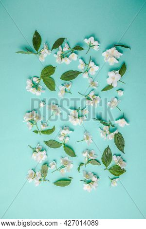 Pattern Of Bud Jasmine And Leaves Scattered On A Green Background, Overhead View. Flat Lay Pattern