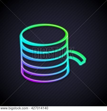 Glowing Neon Line Plastic Filament For 3d Printing Icon Isolated On Black Background. Vector