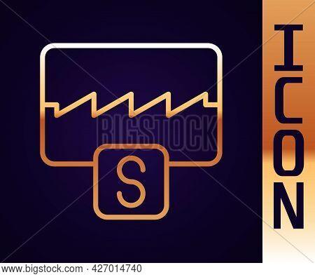 Gold Line Music Wave Equalizer Icon Isolated On Black Background. Sound Wave. Audio Digital Equalize