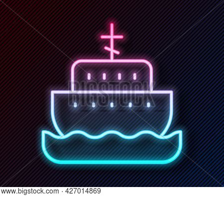 Glowing Neon Line Ark Of Noah Icon Isolated On Black Background. Wood Big High Cargo. Vector