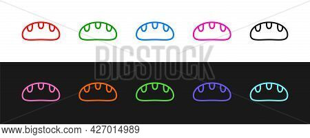 Set Line Bread Loaf Icon Isolated On Black And White Background. Vector