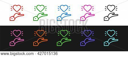 Set Line Pleasant Relationship Icon Isolated On Black And White Background. Romantic Relationship Or