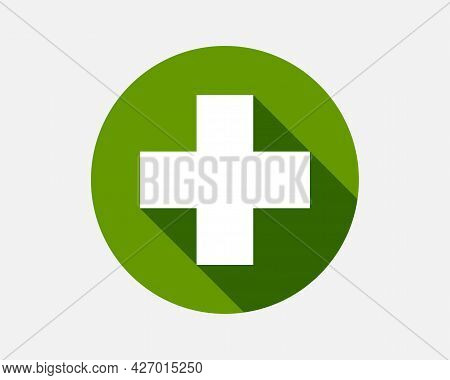 Green Plus Sign. Vector Icon. Cross Symbol Of Safety Guidance.