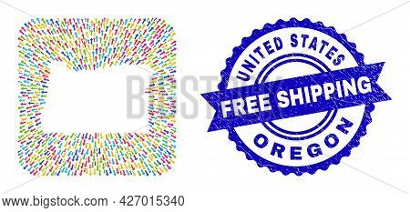 Vector Collage Oregon State Map Of Straight Arrows And Scratched Free Shipping Stamp. Collage Oregon