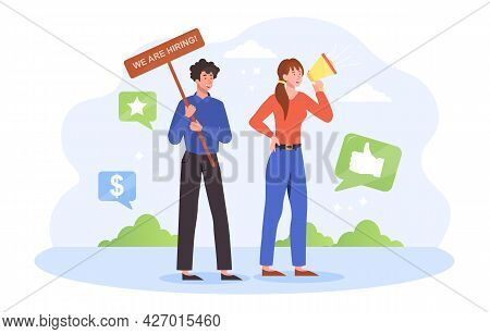 Male And Female Hr Managers. The Characters Are Looking For New Employees In The Company. Man Stands