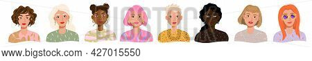 Portraits Of Beautiful Different Women With Various Hair, Skin, Clothes, Face. Vector Avatars Set Of