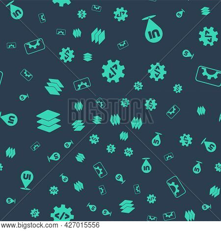 Set Front End Development, Ui Or Ux Design, Layers And Web On Seamless Pattern. Vector