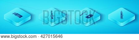 Set Isometric Weapons Oil Bottle, M16a1 Rifle, Military Knife And Buying Assault Icon. Vector