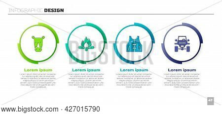 Set Rhinoceros, Campfire, Hunting Jacket And Off Road Car. Business Infographic Template. Vector