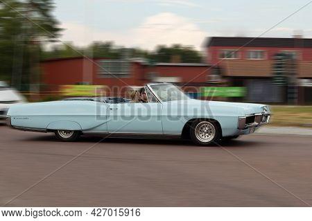 Rattvik, Sweden - July 27.2013: Classic Car Week Rttvik - 1967 Blue Pontiac Bonneville Convertible