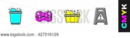 Set Bucket With Foam, Sponge, Basin Soap Suds And Wet Floor Icon. Vector
