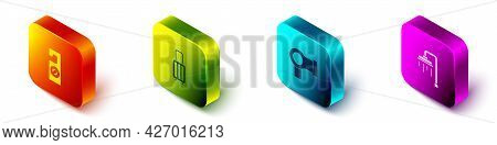 Set Isometric Please Do Not Disturb, Suitcase, Hair Dryer And Shower Icon. Vector