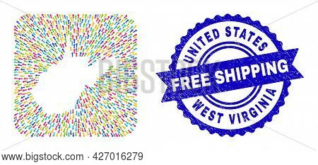 Vector Mosaic West Virginia State Map Of Straight Arrows And Rubber Free Shipping Seal. Mosaic West