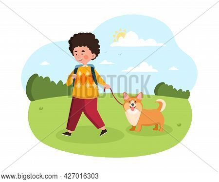 Kids Doing Housework Concept. The Boy Took A Dog For A Walk On A Leash. A Child Walks An Animal In T