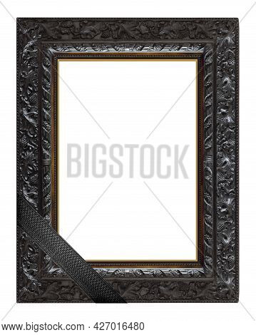 Black Wooden Frame With Black Mourning Ribbon For Paintings, Mirrors Or Photo Isolated On A White Ba