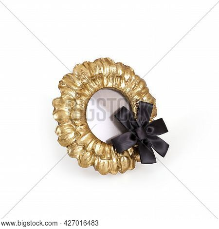 Golden Round Frame With Black Mourning Ribbon For Paintings, Mirrors Or Photo Isolated On White Back