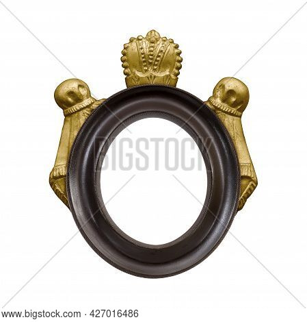 Wooden Oval Frame For Paintings, Mirrors Or Photo Isolated On White Background. Design Element With