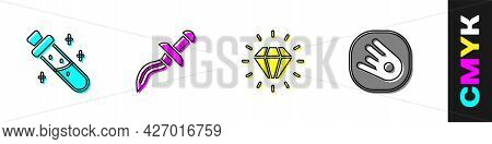 Set Bottle With Potion, Dagger, Diamond And Comet Falling Down Fast Icon. Vector