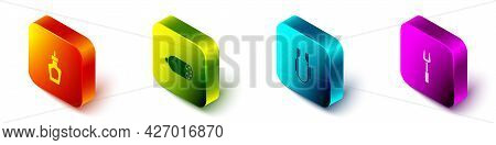 Set Isometric Sauce Bottle, Salami Sausage, Meat Tongs And Barbecue Fork Icon. Vector