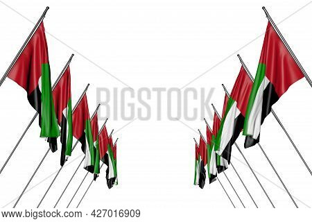 Pretty Many United Arab Emirates Flags Hangs On Diagonal Poles From Left And Right Sides Isolated On