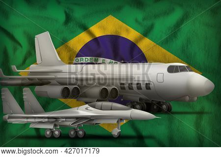 Air Forces On The Brazil Flag Background. Brazil Air Forces Concept. 3d Illustration