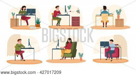 People Work In The Office Concept. Men And Women Sit At Computers At Their Workplaces And Run Errand