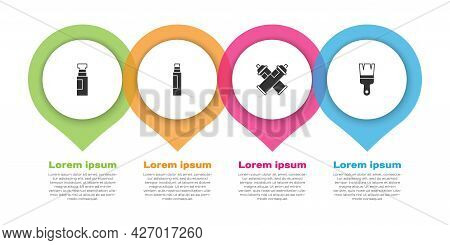 Set Marker Pen, , Paint Spray Can And Brush. Business Infographic Template. Vector