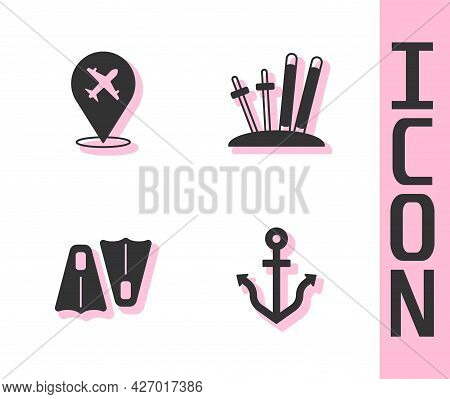 Set Anchor, Plane, Rubber Flippers For Swimming And Ski And Sticks Icon. Vector