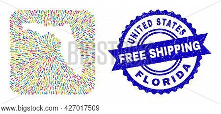 Vector Mosaic Florida State Map Of Pointing Arrows And Rubber Free Shipping Stamp. Mosaic Florida St