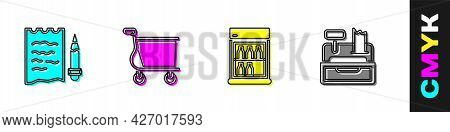 Set Shopping List And Pencil, Cart, Commercial Refrigerator And Cash Register Machine Icon. Vector