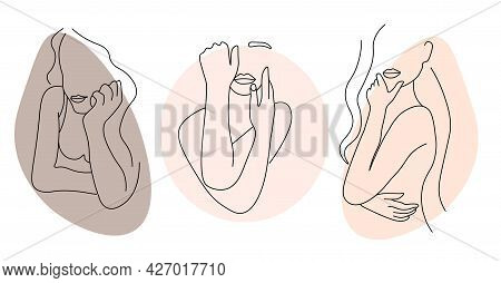 Set Of Abstract Minimalistic Female Figure In Underwear. Fashionable Illustration Of The Female Body