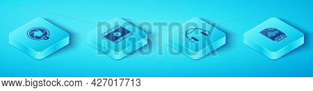 Set Isometric Camera Shutter, Play Video, Mp3 File Document And Headphones Icon. Vector