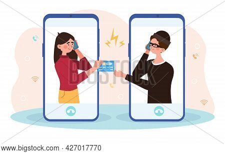 Online Crime Concept. Girl Does Not Suspect That She Is Talking On The Phone With The Criminal. Woma