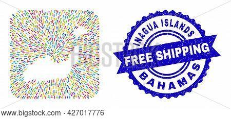 Vector Mosaic Inagua Islands Map Of Navigation Arrows And Rubber Free Shipping Badge. Mosaic Inagua