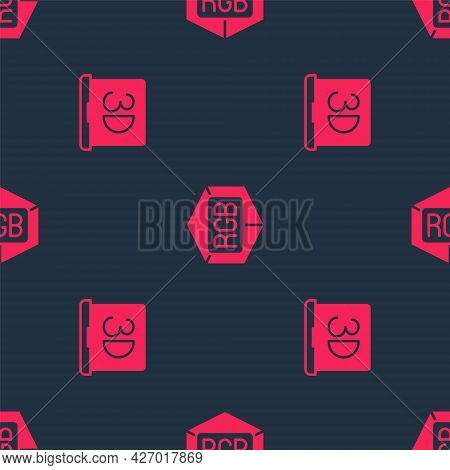 Set 3d Printer And Rgb And Cmyk Color Mixing On Seamless Pattern. Vector