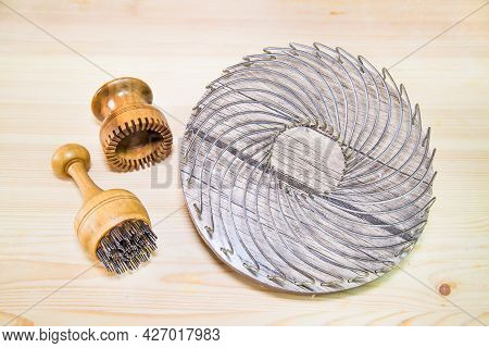 Metal Tools For Beautiful Dough Forming When Baking Uzbek Tortillas. Bakery Products National Tradit