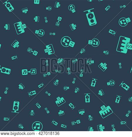 Set Pause Button, Stereo Speaker, Music Note, Tone And Wave Equalizer On Seamless Pattern. Vector