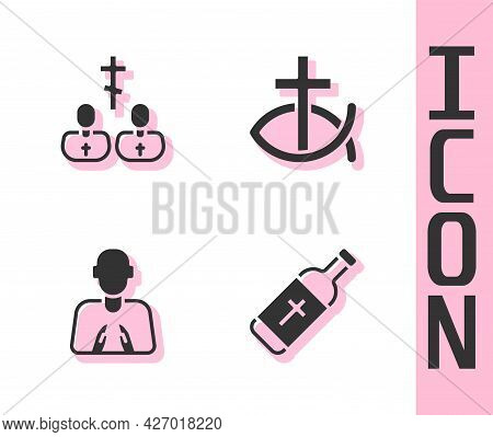 Set Holy Water Bottle, Priest, Hands In Praying Position And Christian Fish Icon. Vector