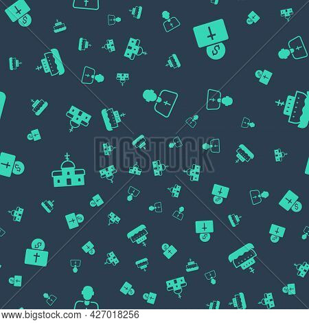 Set Priest, Donation For Church, Church Building And Ark Of Noah On Seamless Pattern. Vector