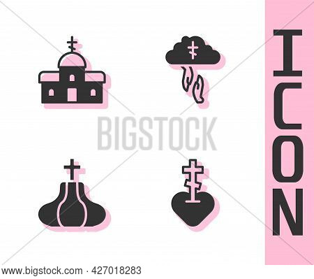 Set Religious Cross In Heart, Church Building, Tower And Gods Helping Hand Icon. Vector