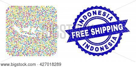 Vector Mosaic Indonesia Map Of Migration Arrows And Rubber Free Shipping Badge. Mosaic Indonesia Map