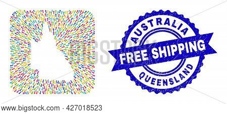 Vector Mosaic Australian Queensland Map Of Migration Arrows And Rubber Free Shipping Seal. Mosaic Au