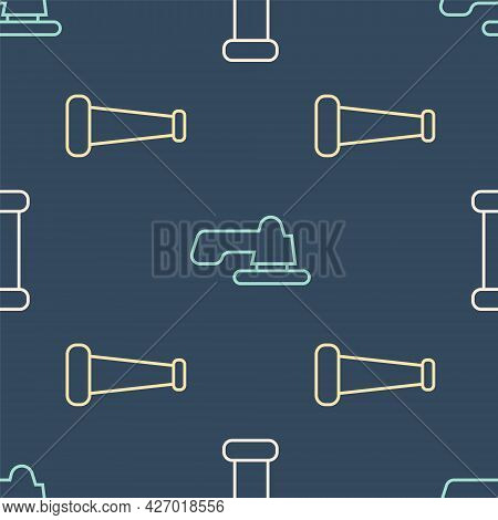 Set Line Industry Metallic Pipe, Industry Metallic Pipe And Water Tap On Seamless Pattern. Vector