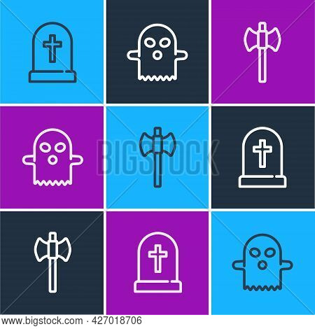 Set Line Tombstone With Cross, Wooden Axe And Ghost Icon. Vector